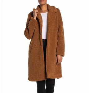 Lucky Brand Long Faux Shearling Teddy Coat